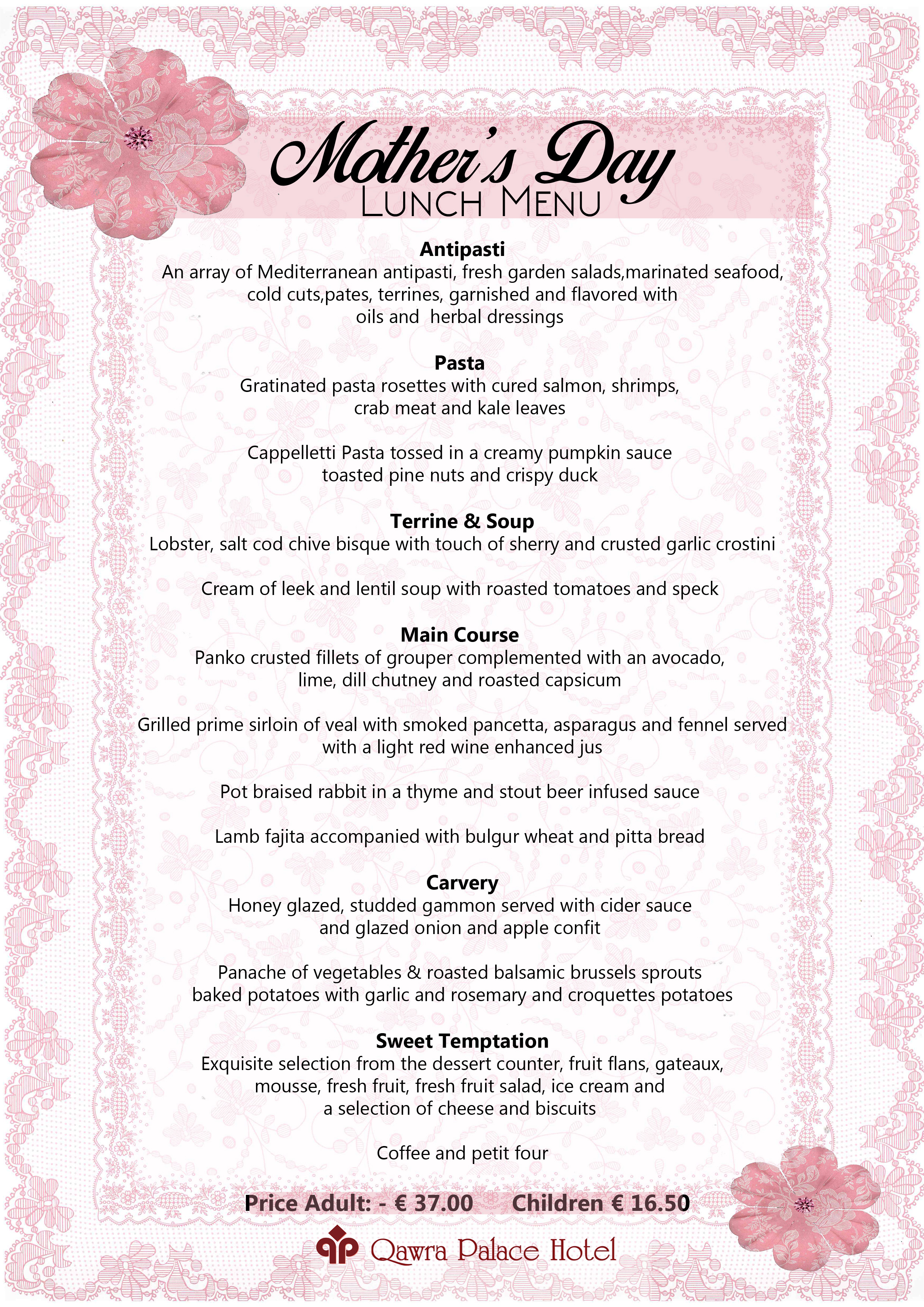 Mother's Day Sunday Lunch Menu
